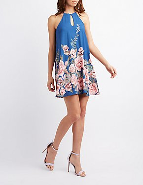 Floral Bib Neck Keyhole Dress