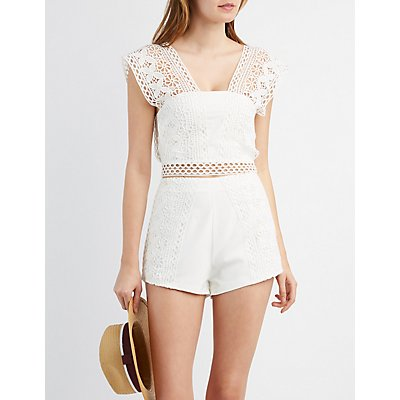Crochet-Panel Crop Top