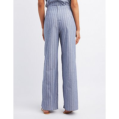 Striped High-Rise Palazzo Pants