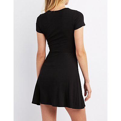 Ribbed Keyhole Skater Dress