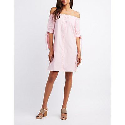 Striped Off-The-Shoulder Shift Dress
