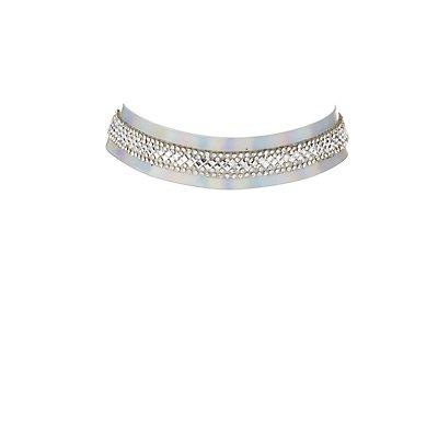 Plus Size Embellished Holographic Choker Necklace