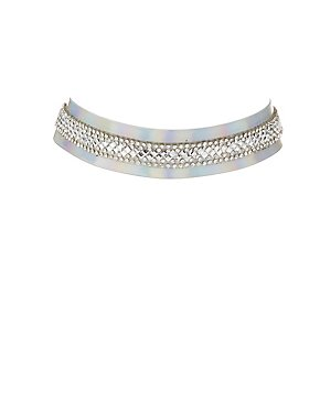 Plus Size Embellished Holographic Choker Necklace