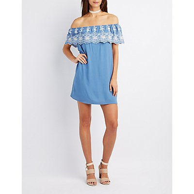 Embroidered Off-The-Shoulder Shift Dress