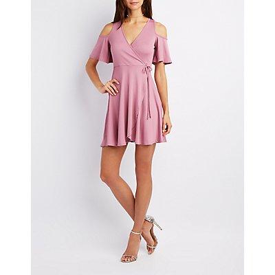 Ribbed Cold Shoulder Wrap Dress