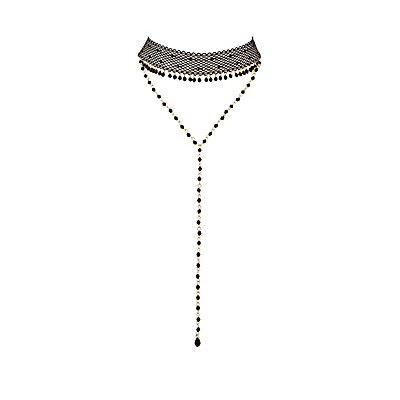 Plus Size Mesh & Beaded Layered Choker Necklace