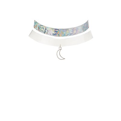 Plus Size Clear & Holographic Choker Necklaces - 2 Pack