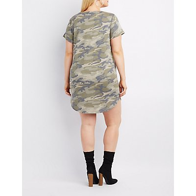 Plus Size Camo O-Ring T-Shirt Dress