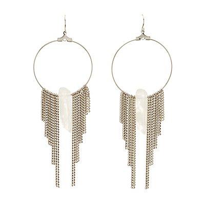 Embellished Fringe Hoop Earrings