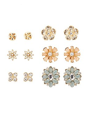 Embellished Floral Stud Earrings - 6 Pack