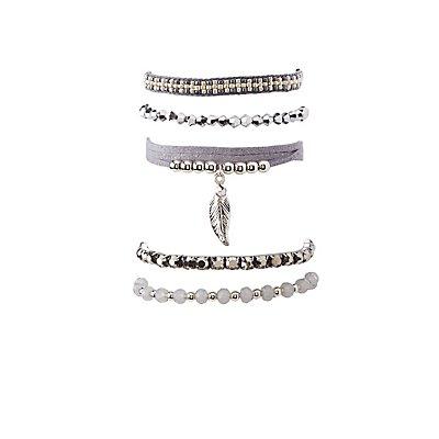 Beaded Leaf Layering Bracelets - 5 Pack