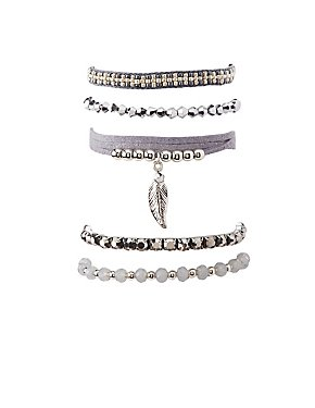 Beaded Leaf Layering Bracelets - 5 Pack