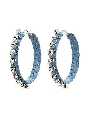 Denim & Crystal Embellished Hoop Earrings