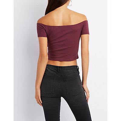 Lace-Up Off-The-Shoulder Crop Top