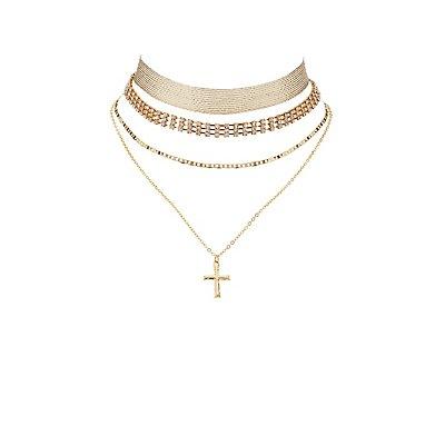 Plus Size Embellished Layering Choker Necklaces - 3 Pack