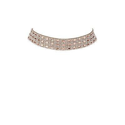 Plus Size Embellished Rhinestone Choker Necklace
