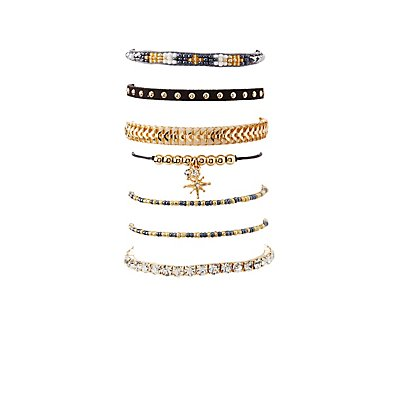 Beaded & Embellished Layering Bracelets - 7 Pack