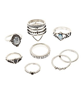 Embellished Stacking Rings - 8 Pack
