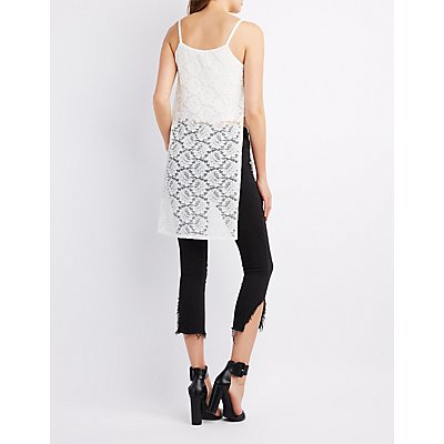 Pleated Lace Overlay Top