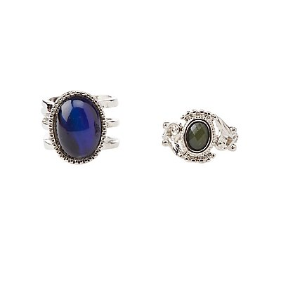 Faceted Stone Statement Rings - 3 Pack