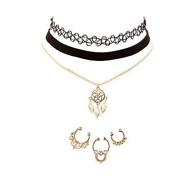 Septum Rings, Choker & Pendant Necklace Set