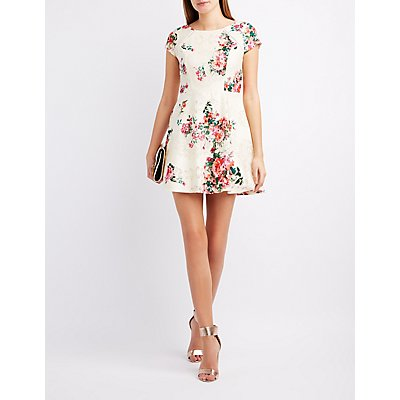 Printed Lace Skater Dress