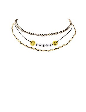 Plus Size Smile Chainlink Choker Necklaces - 2 Pack