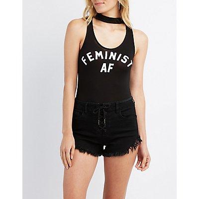 Feminist AF Choker Neck Bodysuit