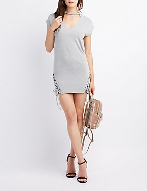 Dolman Lace-Up Sweatshirt Dress