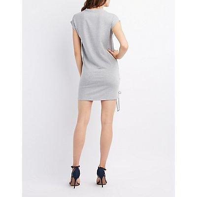 Dolman Lace-Up Sweatshirt Dress