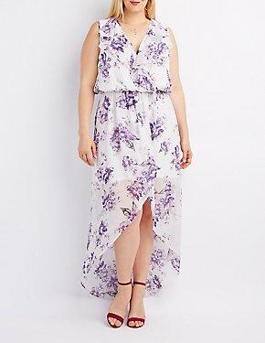 Floral Open-Back Surplice Maxi Dress