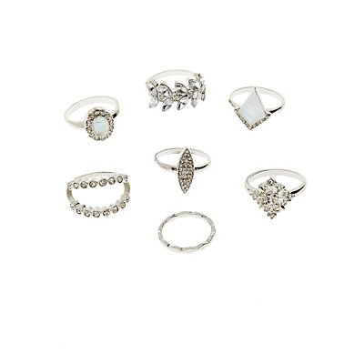 Embellished Stacking Rings - 7 Pack