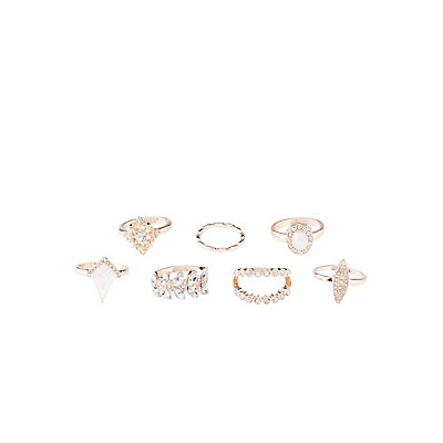Embellished Stacking Rings - 7 Pack
