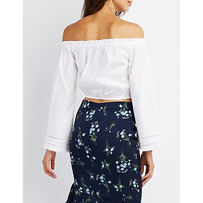 Fringe-Trim Off-The-Shoulder Crop Top