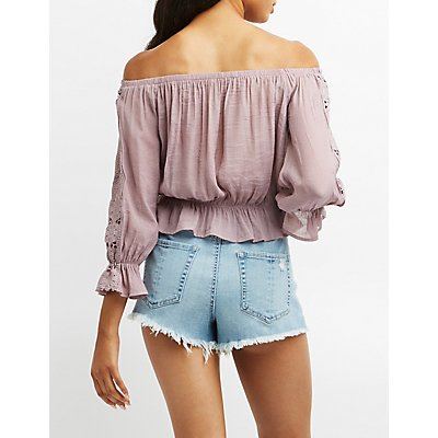 Crochet-Trim Off-The-Shoulder Peplum Top