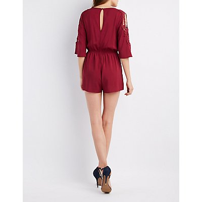 Crochet-Trim Split Sleeve Surplice Romper