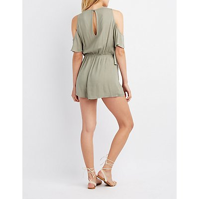 Gauze Cold Shoulder Romper