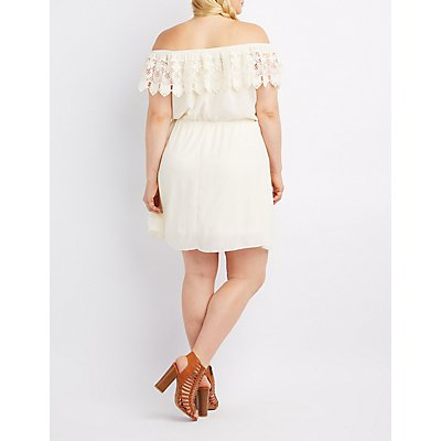 Plus Size Crochet-Trim Off-The-Shoulder Skater Dress