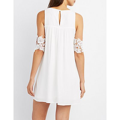 Crochet-Trim Cold Shoulder Shift Dress