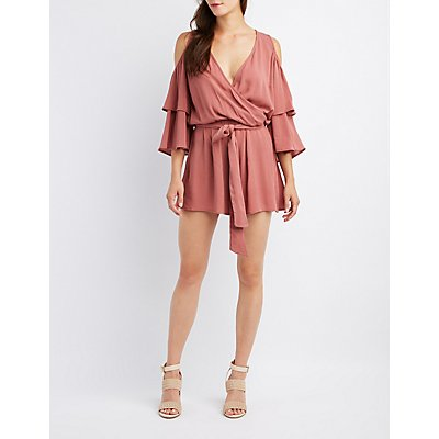 Surplice Cold Shoulder Romper