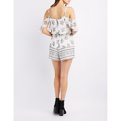 Printed Lace-Up Cold Shoulder Romper