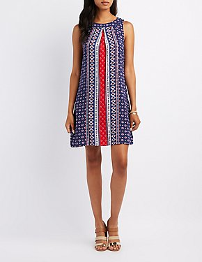 Border Print Trapeze Shift Dress