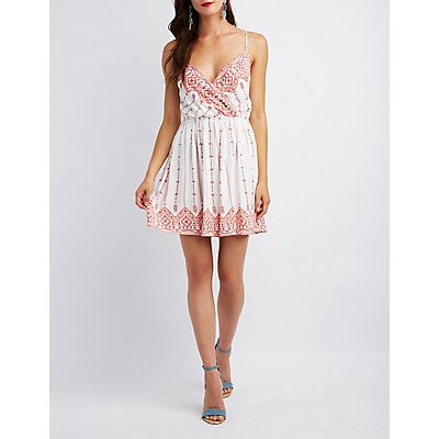 Printed Surplice Strappy-Back Skater Dress
