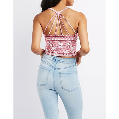 Paisley Strappy Caged-Back Crop Top