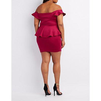Plus Size Ruffle Off-The-Shoulder Peplum Dress