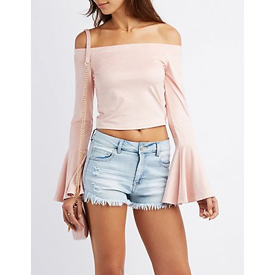 Faux Suede Off-The-Shoulder Bell Sleeve Top
