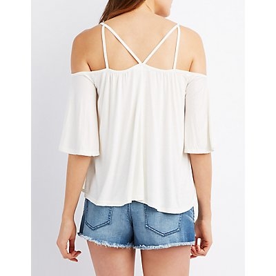 Strappy Cold Shoulder Swing Top