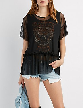 Mesh Overlay Tiger Graphic Top