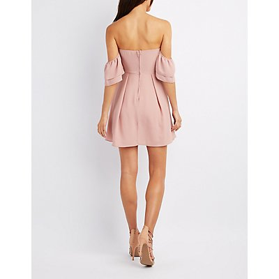 Off-The-Shoulder Ruffle Skater Dress