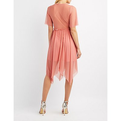 Mesh Surplice Midi Dress